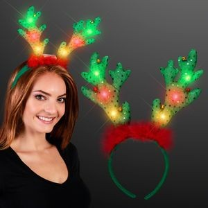 LED Light Up Reindeer Antlers w/ Jingle Bells