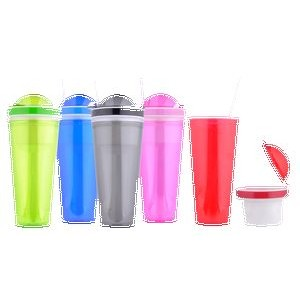 Double Wall Plastic Mug w/Snack Holder Lid